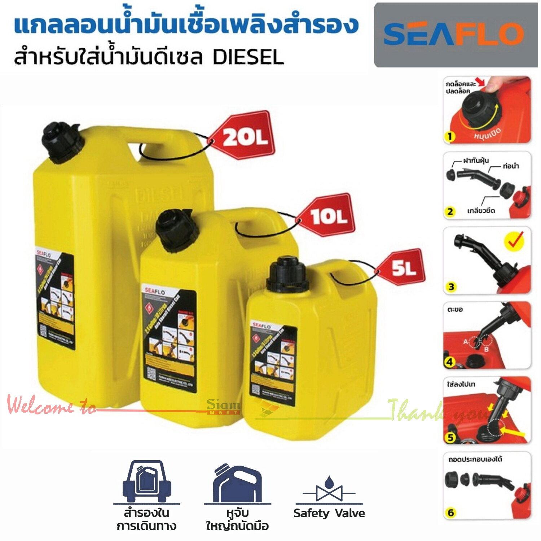 แกลลอนน้ำมันเชื้อเพลิงสำรอง SEAFLO มีขนาด 5, 10, 20 ลิตร เหมาะสำหรับบรรจุน้ำมันเชื้อเพลิงดีเซล เพื่อสำรองในการเดินทางไกล ช่วยเก็บกลิ่นน้ำมัน (แกลลอนสีเหลือง)