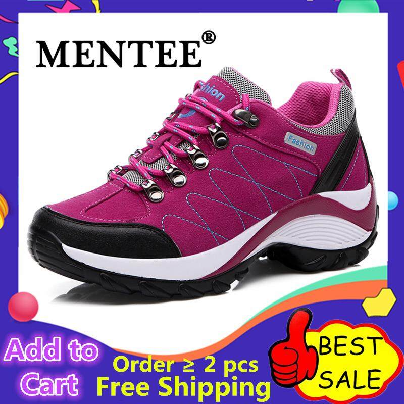 MENTEE Waterproof Hiking Sepatu Wanita Tinggi Meningkatkan Sepatu Wanita  Gunung Mendaki Kulit Luar Hiking Boot 90ec8b2897