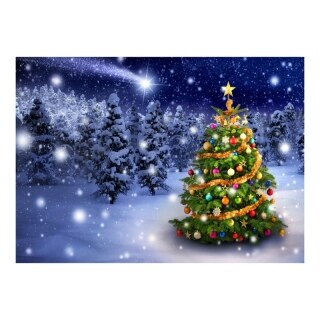 5X7Ft Fabric Christmas Snow Scene Photography Background Cloth Party Holiday Decoration New Year Winter Forest thumbnail