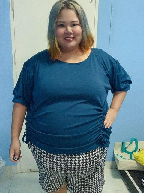เสื้อยืดรูดข้างไซส์ใหญ่คนอ้วน อก50-70 รอบตัวไม่เกิน70 สาวอวบสาวอ้วน ผ้านิ่มใส่สบาย.