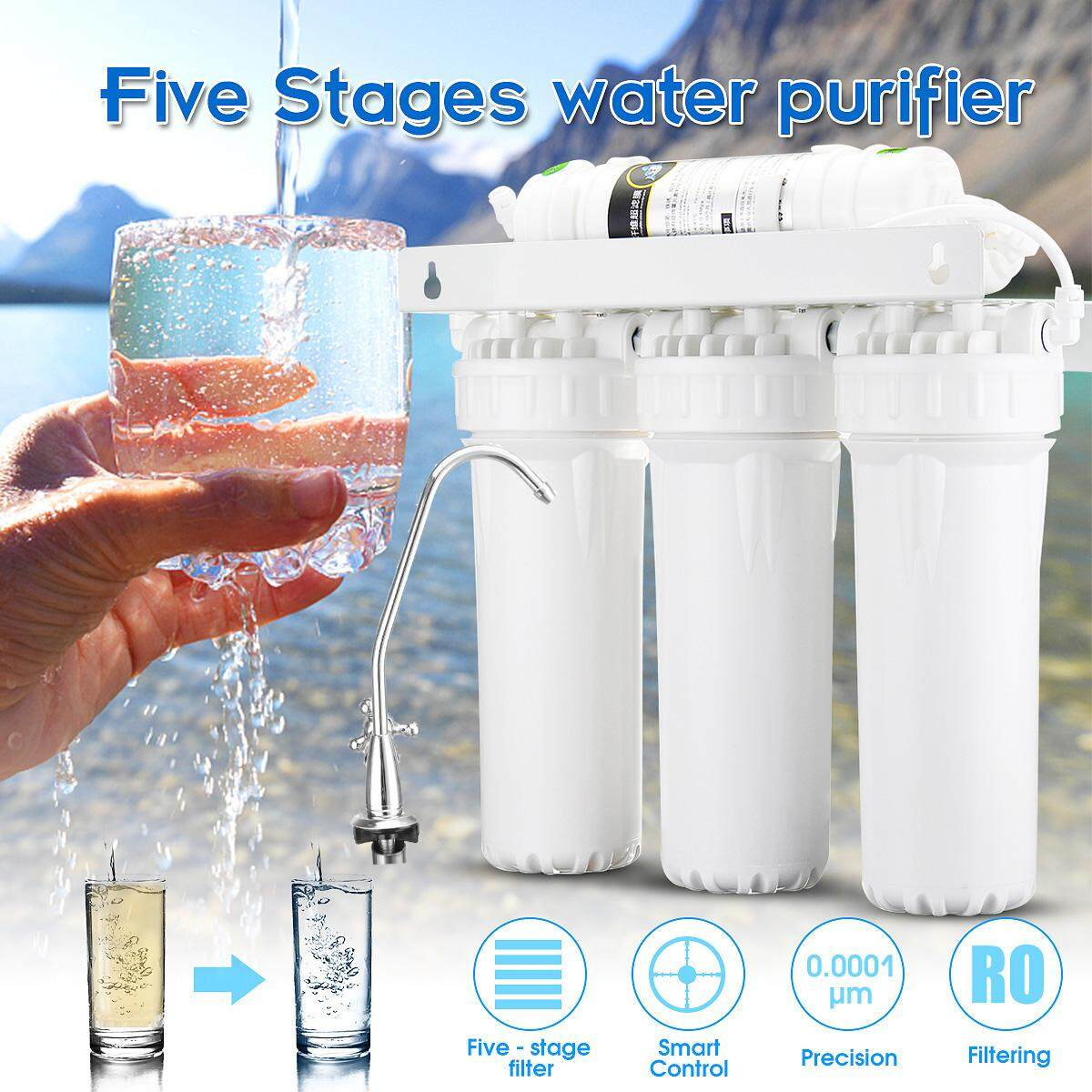 Home Kitchen 5 Stage Reverse Osmosis Water System Filtration Drinking Home Filter Purifier 120L/H