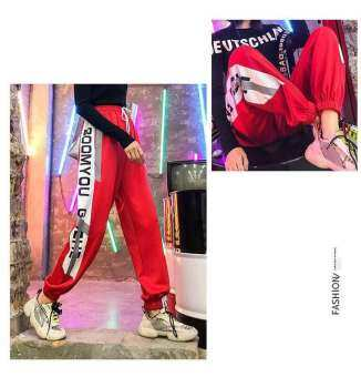 K.A SHOP กางเกงขายาว เอวยางยืด แต่งแถบข้าง รุ่น Elastic trousers, side stripe pattern (สีแดง)รุ่น KJ888-006