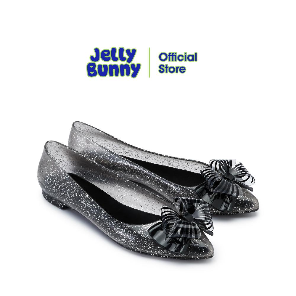 Jelly Bunny Diva Bow เจลลี่ บันนี่ ดีว่า โบว์ B21slbi006 รองเท้าส้นแบน รองเท้าบัลเล่ต์ รองเท้าหุ้มส้น รองเท้ากลิตเตอร์.