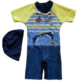 BABYKIDS95 ชุดว่ายน้ำเด็ก บอดี้สูท+หมวก Size: 100 ลายยีนส์ปลาโลมา (สีน้ำเงิน)
