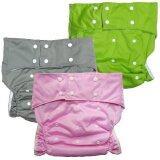 ขาย ซื้อ ออนไลน์ Babykids95 กางเกงผ้าอ้อมผู้ใหญ่ ซักได้ กันน้ำ ฟรีไซส์ปรับขนาดได้ เซ็ท 3 ตัว สีชมพู เทา เขียว