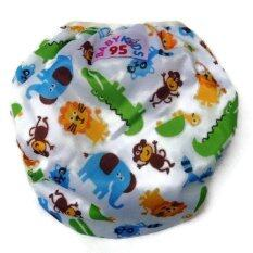 Babykids95 กางเกงผ้าอ้อมว่ายน้ำ ปรับขนาดได้ ไซส์เด็กแรกเกิด 7 กก สีขาวลายสวนสัตว์ Babykids95 ถูก ใน ไทย
