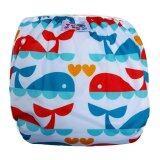 Babykids95 กางเกงผ้าอ้อมว่ายน้ำ ปรับขนาดได้ รุ่น Digital Print ไซส์เด็ก 7 13 5 กก ลายวาฬ สีขาว ถูก