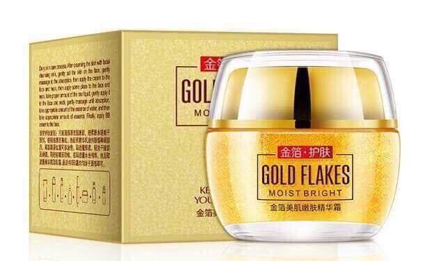 ( สินค้าพร้อมส่ง ) images gold flakes moist bright 24k ขนาด 50กรัม ครีมบำรุงผิวหน้า ผสมทองคำแท้บริสุทธิ์