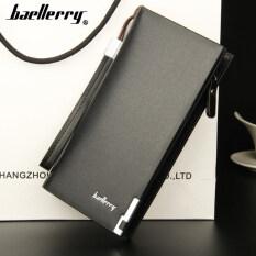 ราคา Baellerry กระเป๋าสตางค์ ผู้ชาย กระเป๋าเงิน กระเป๋าตัง บาง ทรงยาว Men Wallet Business Style Long Pattern Pu Leather Wallet For Men Black