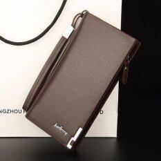 ขาย Baellerry กระเป๋าสตางค์ ผู้ชาย กระเป๋าเงิน กระเป๋าตัง บาง ทรงยาว Men Wallet Business Style Long Pattern Pu Leather Wallet For Men Brown Thailand
