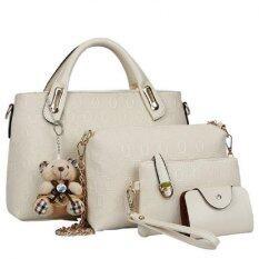ซื้อ Bb Bags เซ็ต4ใบ กระเป๋าแฟชั่น รุ่น2101 สีขาว Bb ถูก