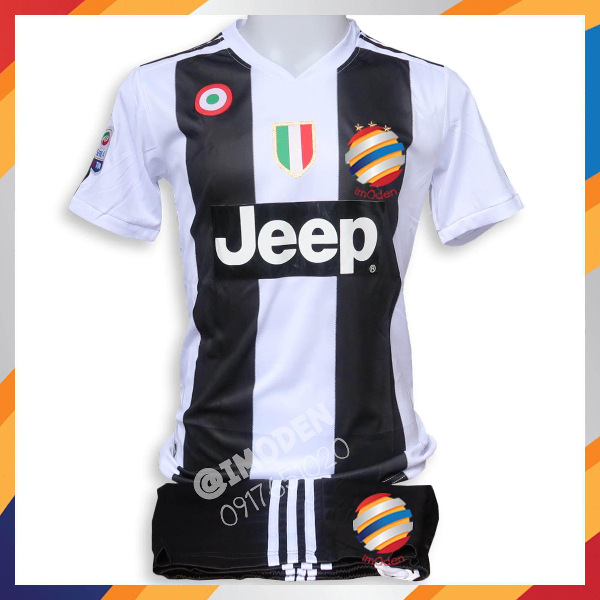 ชุดฟุตบอล เสื้อ+กางเกง ผู้ใหญ่ สีขาวดำ Juv001 By Imoden.