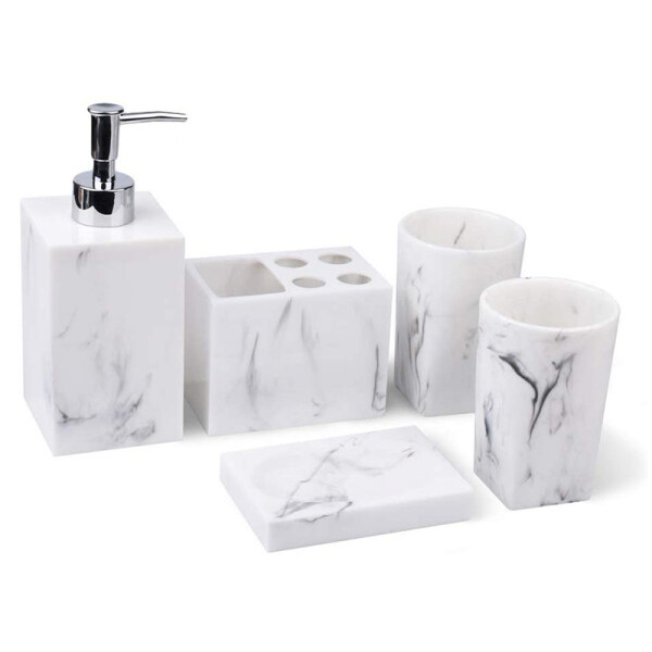 Bảng giá 5-Piece Bathroom Counter Top Accessory Set - Dispenser for Liquid Soap Or Lotion, Soap Dish, Toothbrush Holder and 2 Tumblers, Marble Imitated Resin Phong Vũ
