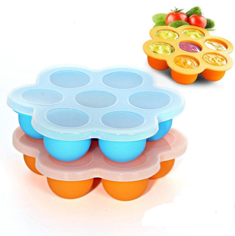 บล็อกซิลิโคนฟรีซอาหารเด็ก ภาชนะบรรจุอาหารเด็ก 7 หลุม พร้อมฝาปิด.