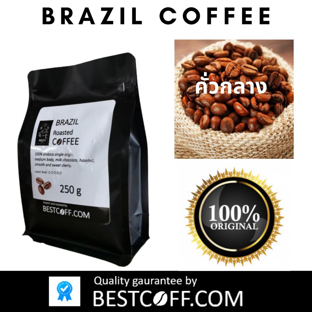 เมล็ดกาแฟบราซิล คั่วกลาง Brazil Medium Roasted Coffee ขนาด 250 G ไม่บด.