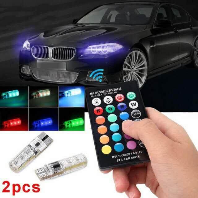 หลอดไฟหรี่รถยนต์ เปลี่ยนสีได้ (ขั้ว T10) ไฟหรี่ 7 สี 17 สเต็ป พร้อมถ่าน+รีโมท By Zelena.shopping.