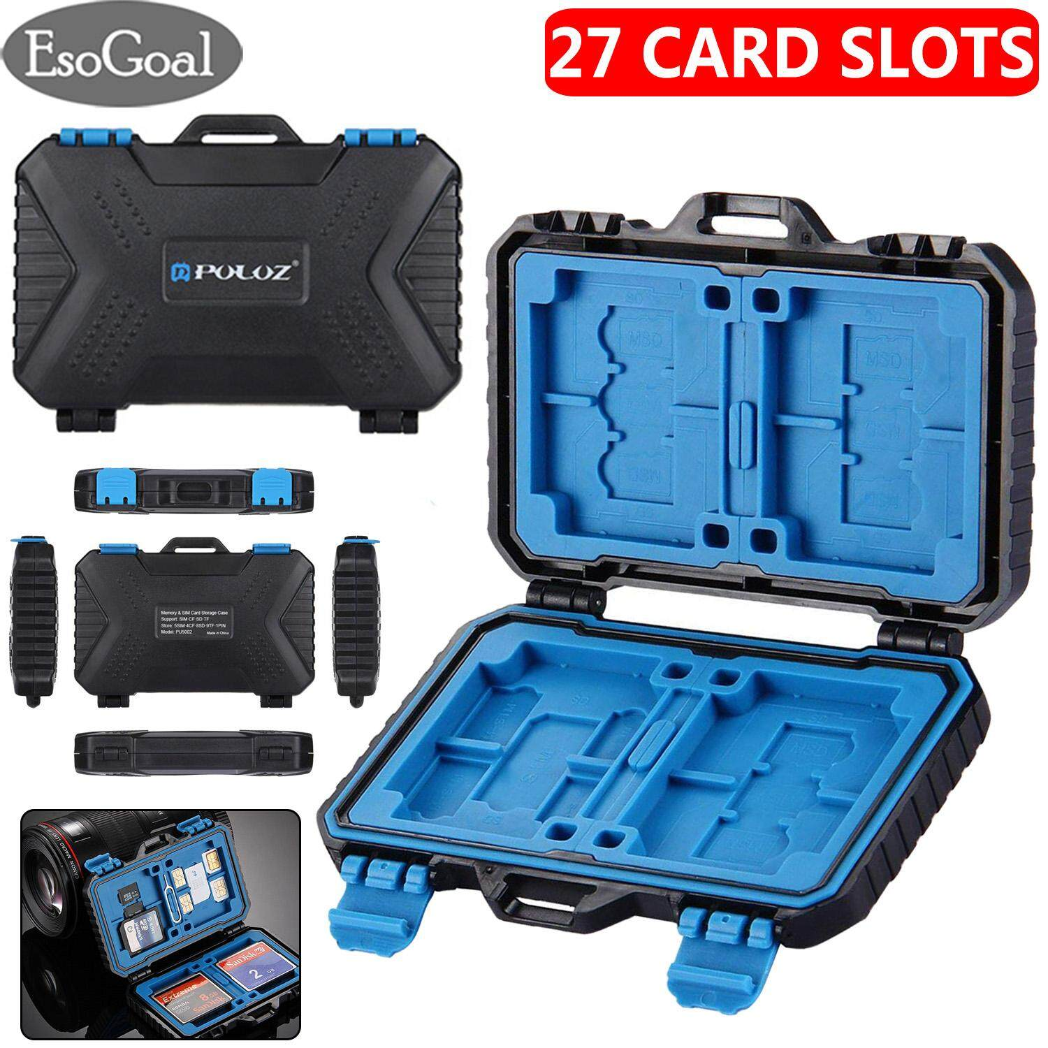 EsoGoal เมมโมรี่การ์ด Memory Card Case SD Card Storage Box Waterproof Shockproof Protection Micro SD Card Case Holder TF SD CF Cards Carrying Case Storage Box(27 Slots)