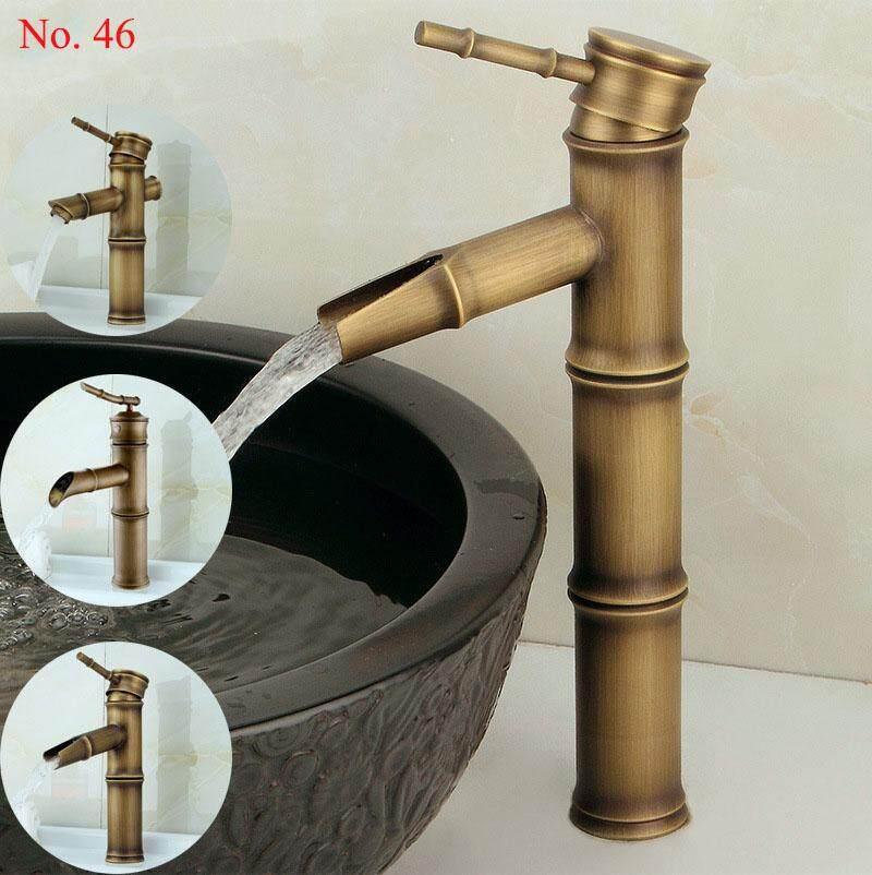 ก๊อกน้ำทองเหลืองรูปทรงกระบอกไม้ไผ่ Classic +ท่อน้ำดี DD094