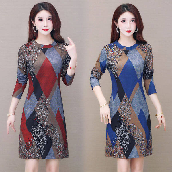 Áo khoác phụ nữ tuổi trung niên mùa thu mới in áo phông mỏng, giảm độ tuổi mặc áo dài kiểu nước ngoài