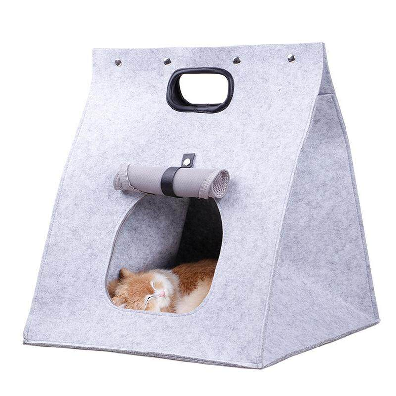 Pet Cat Carrier, Folding Portable Wool Felt Cave Bed Travel Bag For Cat Puppy 3 In 1 Multifunctional Nest Felt Walking Bag By Rainning.