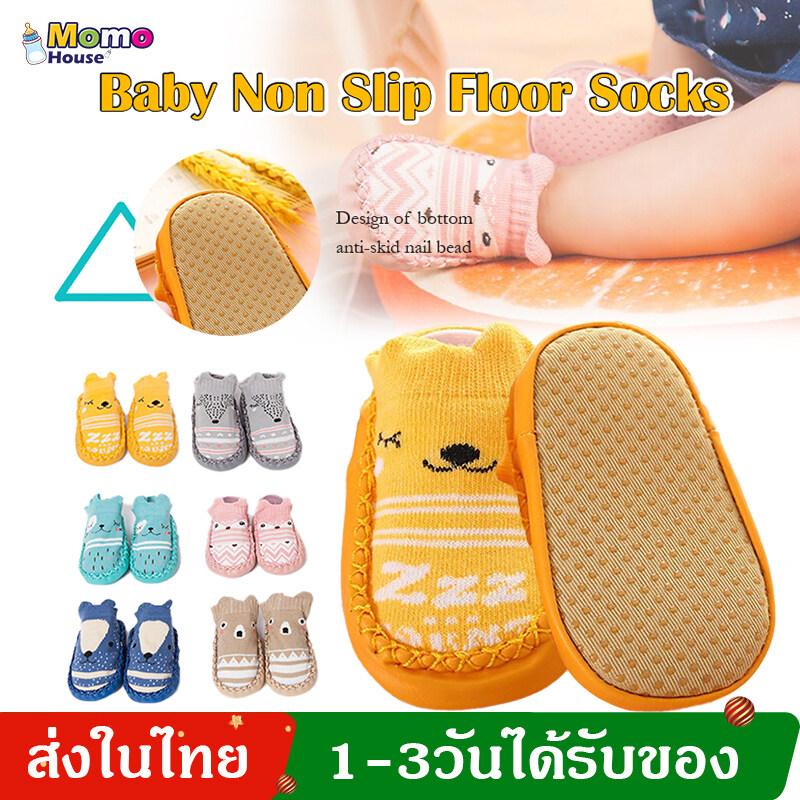 รองเท้าเด็ก รองเท้าหัดเดิน ถุงเท้าเด็ก ลายการ์ตูนสัตว์น่ารัก Baby Socks Walk Learning Toddler Socks My166.