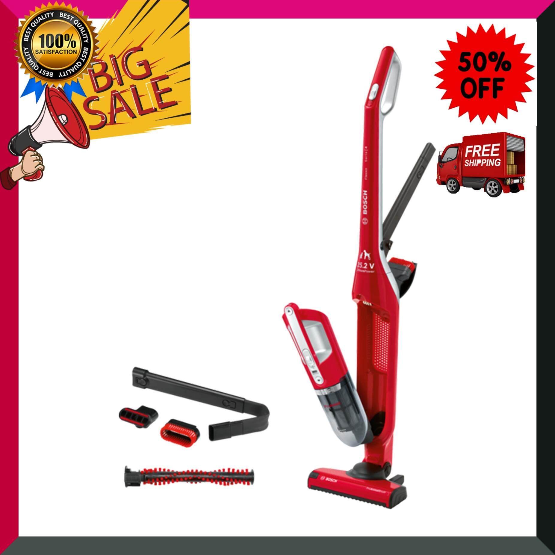 BOSCH เครื่องดูดฝุ่นไร้สาย 2 in 1 Flexxo ProAnimal รุ่น BBH3ZOO25 สีแดง เครื่องดูดฝุ่น เครื่องทำความสะอาด เครื่องดูดฝุ่นอัตโนมัติ หุ่นยนต์ดูดฝุ่น Vacuum Cleaner สินค้าคุณภาพ Premium ***จัดส่งฟรี***