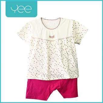 YeeShop ชุดเสื้อผ้าเด็กผู้ชาย/เด็กผู้หญิงแขนสั้นเข้าชุด สไตล์ญี่ปุ่น ลายดอกไม้น่ารัก ไซส์ 80#/XS 90#