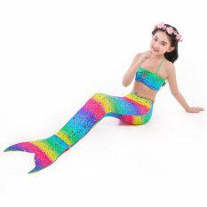 Đồ Bơi Nàng Tiên Cá Đồ Bơi Suối Nước Nóng Đuôi Cá Cho Trẻ Em Bộ Bikini Ba Mảnh Cho Bé Gái, 2021, Mới
