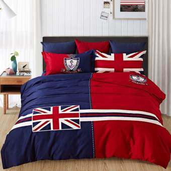 Pillow Land ผ้าปูที่นอน ชุดผ้านวม เกรด A 6 ฟุต 6 ชิ้น Flag 003-