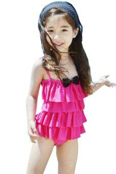 BEST Child Baby Little GirlsBikini Swimwear Swimsuit Bathing Suit ชุดว่ายน้ำสำหรับเด็ก - (Rose Red)