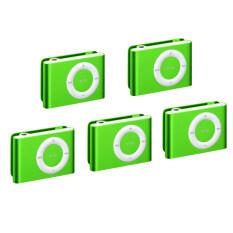 ส่วนลด Best Mini Clip Mp3 Player Music Speaker เครื่องเล่น Mp3 ขนาดพกพา Green 5Pcs