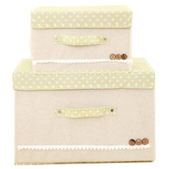 BEST Tmall กล่องผ้า กล่องเก็บอเนกประสงค์ 2ชิ้น (Beige)