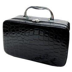 Best Waterproof Crocodile จระเข้ กระเป๋า Makeup Bags Cosmetic Organizer Bags Black ใหม่ล่าสุด