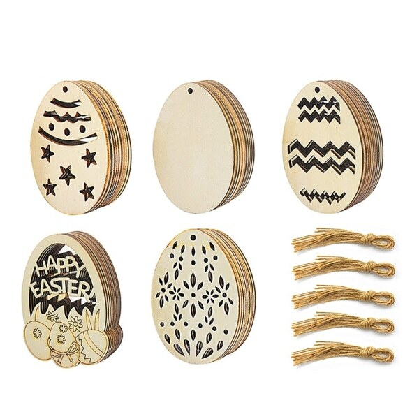 50 Pack Easter Egg Wood Slice Ornaments DIY Wooden Egg Shape Crafts Hanging Easter Decorations for Easter Party Supplies