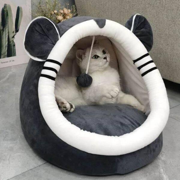 Ấm Bắt Đầu Sưởi Ấm Có Thể Giặt Được Túi Ngủ Đệm Có Thể Tháo Rời Với Đồ Chơi Treo Treo Kitten Giường Cho Mèo Nhà Mèo Đồ Dùng Cho Thú Cưng Chuồng Chó