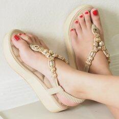 ราคา Bloveshoes Plush Muffin Sandals289 สีแอพริคอท Apricot รองเท้าส้นมัฟฟินเสริมฟองนุ่มรัดข้อยางยืดหลัง Unbranded Generic เป็นต้นฉบับ