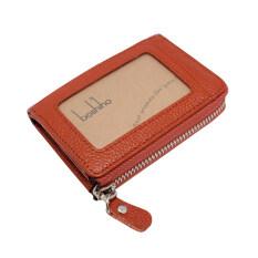 ราคา Boshiho® Genuine Leather Credit Card Case Organizer Compact Wallet With Key Ring Coin Purse Brown Boshiho ฮ่องกง