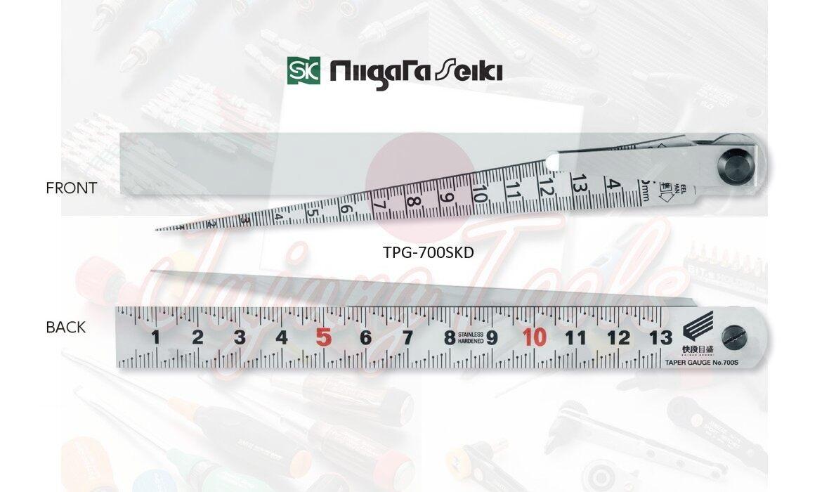 Niigata seiki SK Japan No.TPG-700SKD เตเปอร์เกจ พร้อมไม้บรรทัด สเกลขั้นบันได ญี่ปุ่น Taper Gauge japan วัดร่อง วัดช่องว่าง วัดรูใน วัดระยะ