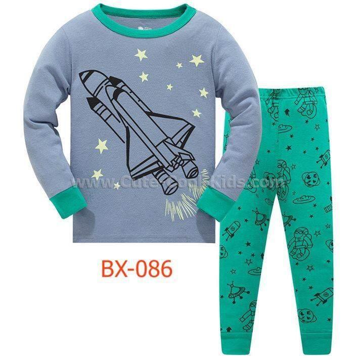 L-HUBX-086-LBX ชุดนอนเด็กชาย แนวเข้ารูป Slim Fit ผ้า Cotton 100% เนื้อบาง สีเทา ลายจรวด