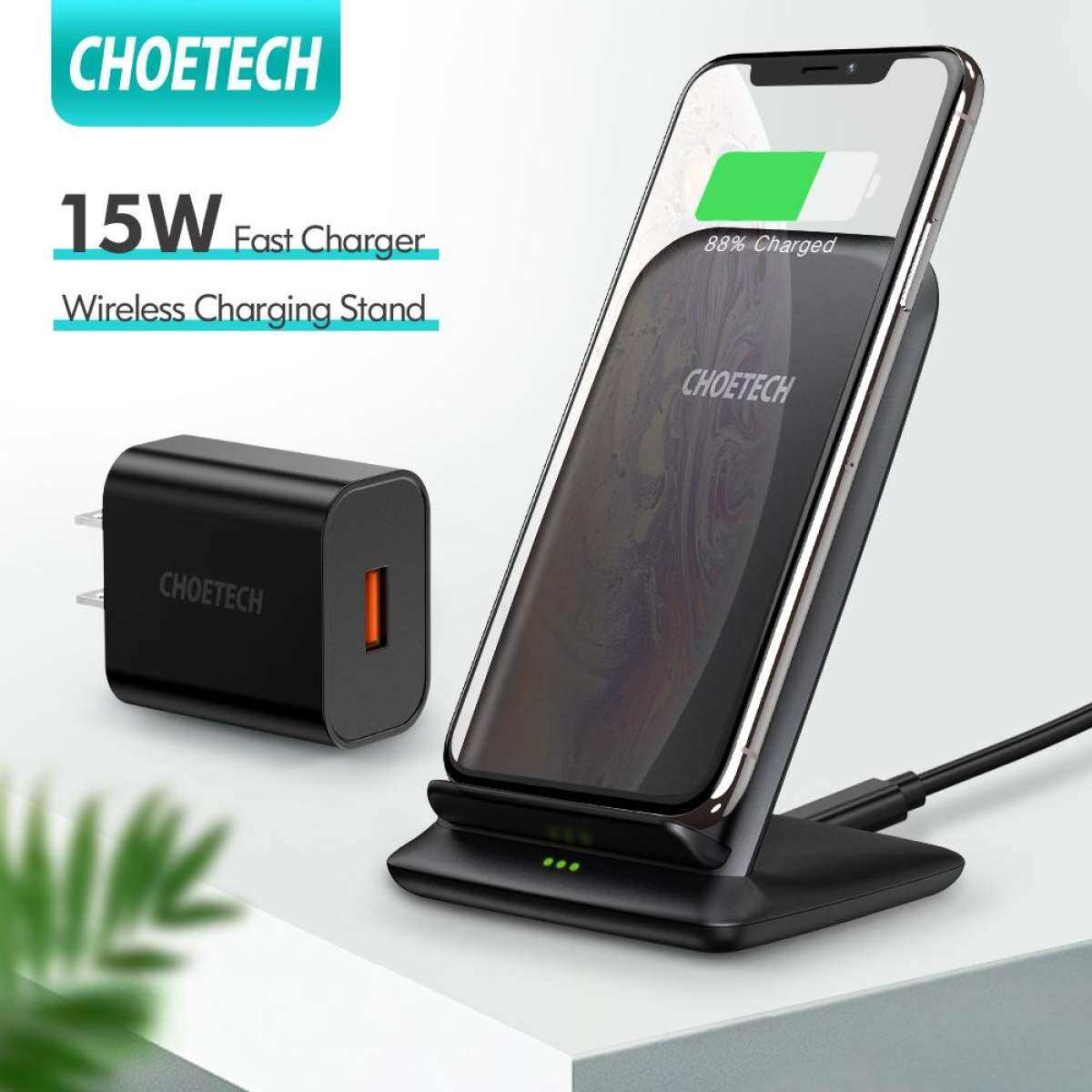 CHOETECH 15W Wireless Charger, Fast Wireless Charging Stand with QC 3.0 Adapter