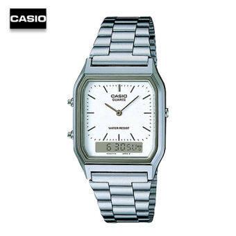 Velashop นาฬิกาข้อมือ Casio Active Dial Silver Tone รุ่น AQ-230A-7DMQ, AQ-230A-7D, AQ-230A