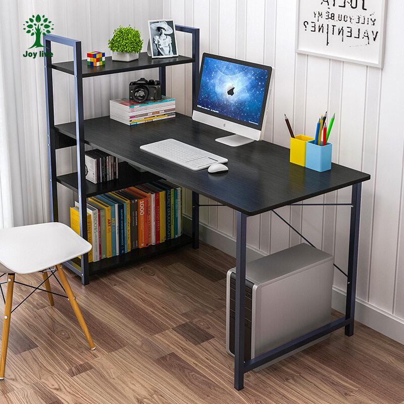 Joy Live โต๊ะทำงานคอมพิวเตอร์ตั้งโต๊ะ, โต๊ะห้องนอนที่เรียบง่ายและประหยัดพร้อมชั้นวางหนังสือ