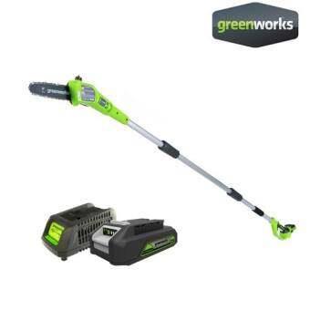 Greenworks เครื่องตัดกิ่งไม้สูงไร้สาย 24 V พร้อมแบตเตอรี่และแท่นชาร์จ