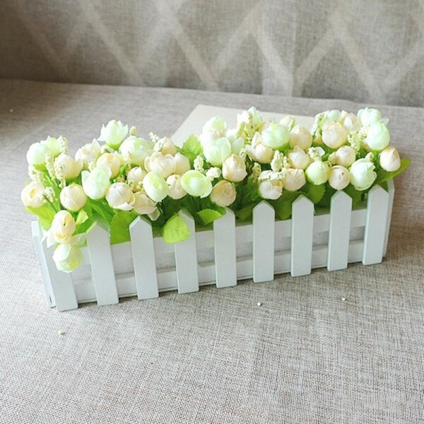 White Wooden Flower Pot Fence Home Garden Wedding Solid Wood Decorative Plant Artificial Flower Pot Fence