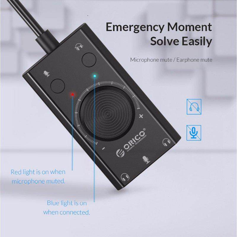 ORICO External USB Sound Card Stereo Mic Speaker Headset Jack 3.5 Cable Adapter