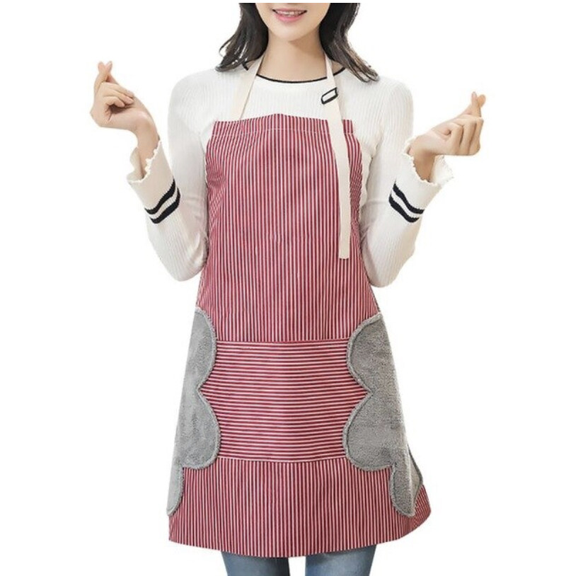 ผ้ากันเปื้อน ผ้ากันเปื้อนทำอาหาร ผ้ากันเปื้อนด้านข้างเช็ดมือได้ ผ้ากันเปื้อนกันน้ำ.