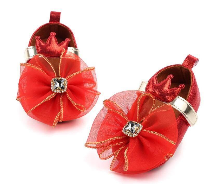 CB รองเท้าเด็กผู้หญิง สไตล์เจ้าหญิง ฟรุ้งฟริ้ง น่ารัก ( สีแดง ) รุ่น 13