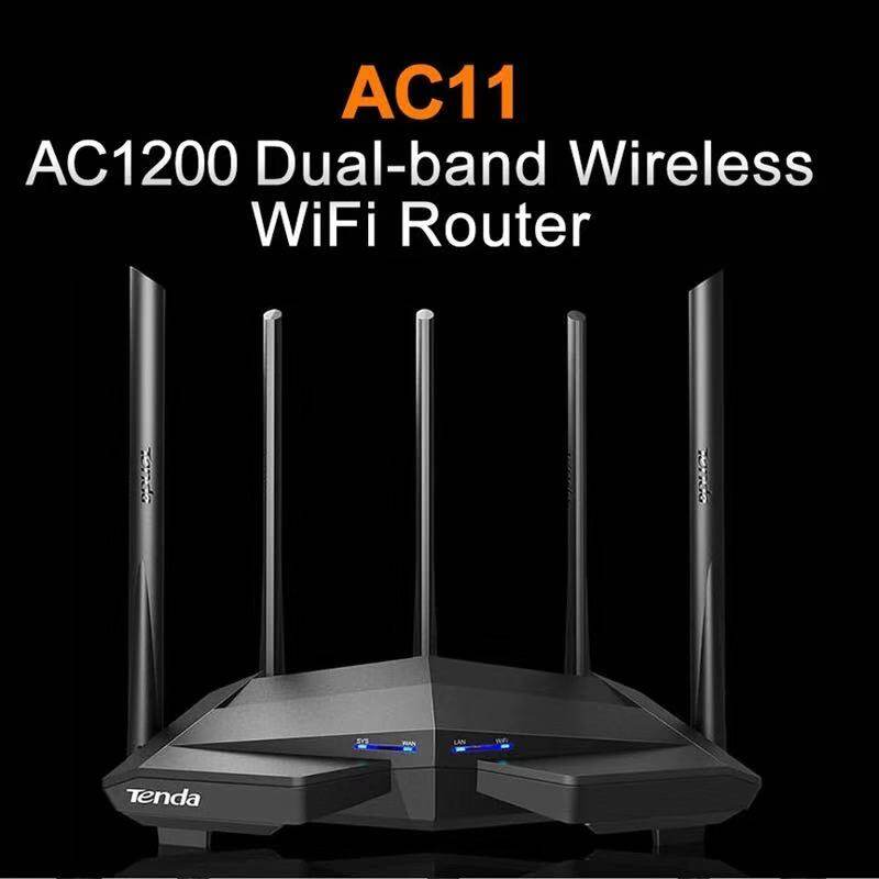 Tenda เร้าเตอร์ไวเลส รุ่น Ac11 5 เสาอากาศ 2.4g/5.0ghz Smart Dual Band Ac1200 Wireless Wifi Router Wi-Fi Repeater.