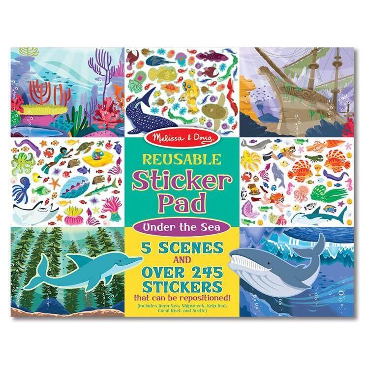 สมุดชุดสติ๊กเกอร์รียูสซาเบิล รุ่นสัตว์น้ำใต้ท้องน้ำทะเล ❤️  ส่งเสริมทักษะการออกแบบตกแต่ง จินตนาการของเด็ก  ❤️.