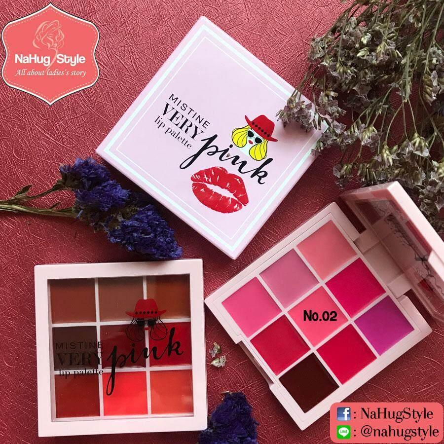 No.02 โทนชมพู - Mistine Very Pink Lip Palette มิสทิน เวรี่พิงค์ ลิปพาเลท 9 เฉดสี.